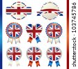 united kingdom union jack emblem set - stock vector