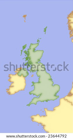 United Kingdom, vector map, with borders of surrounding countries. 5 named layers, fully editable. - stock vector