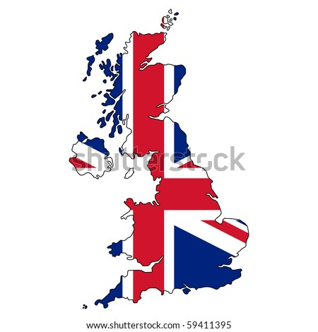 United Kingdom vector map with the flag inside. - stock vector