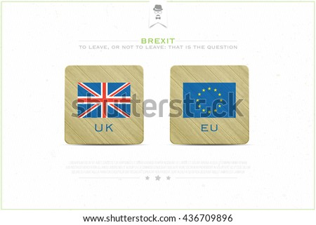United Kingdom withdrawal from the European Union banner template. vector EU and British flags icons over paper texture. public referendum and political crisis concept illustration - stock vector