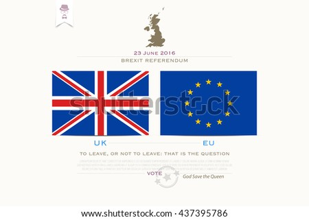 United Kingdom withdrawal from the European Union banner template. vector EU and British flags icons over white background. public referendum announcement, political crisis concept. vector UK map - stock vector