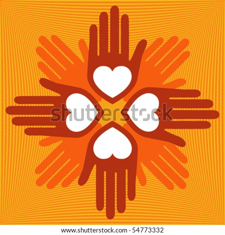 United loving hands vector. - stock vector