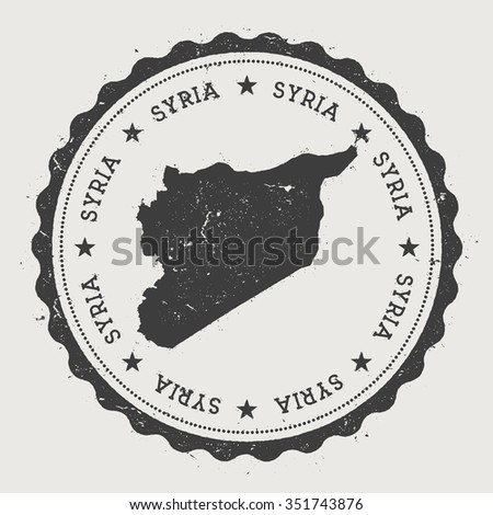 United Nations Disengagement Observation Force. Hipster round rubber stamp with Syria map. Vintage passport stamp with circular text and stars, vector illustration - stock vector