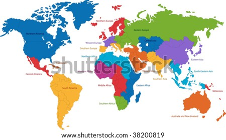 United Nations divides the world into macro-geographical regions and sub-regions - stock vector