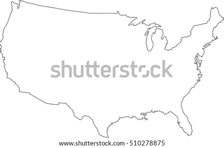 United State America Country Map Outline Stock Vector - Us map outline vector