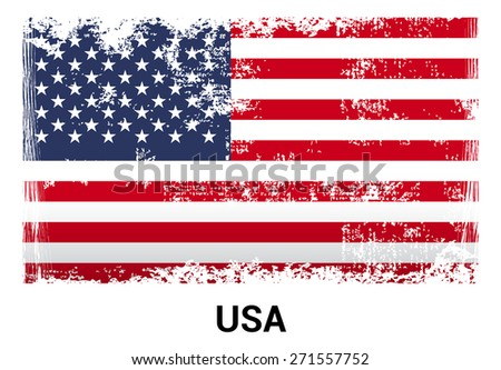 United State of America USA grunge flag isolated vector in official colors and Proportion Correctly. country's name label in bottom. Vector Illustration - stock vector