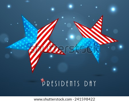 United State of American flag in glossy stars for Happy Presidents Day celebration on shiny blue background. - stock vector