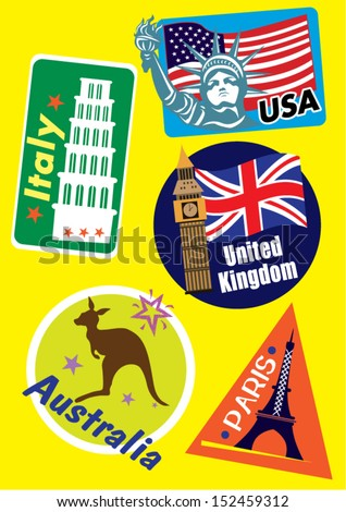United Stated, Europe & Australia Country Travel Icon Set - stock vector