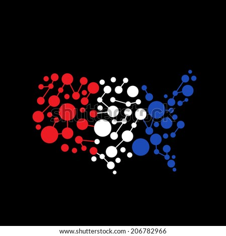 United States Abstract dot line map. Concept for communication, structure, network. Vector icon - stock vector