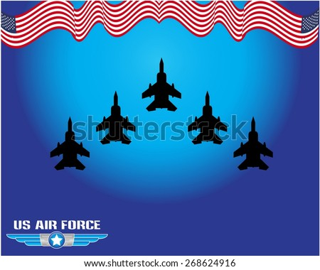 United States Air Force Illustration, for logo and background or backdrop. easy to modify - stock vector