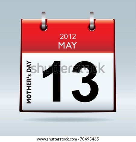 United states and canada mothers day for 2012 on calendar - stock vector