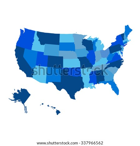United States blue Map with Alaska region vector - stock vector