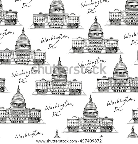 United States Capitol Building (Capitol Hill) seamless pattern, vector landmark background with text - stock vector