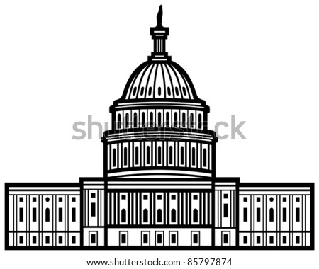 United States Capitol (Capitol hill, U. S. Capitol dome) - stock vector