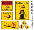 United States Department of Transportation gasoline warning label isolated on white - stock