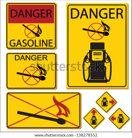 United States Department of Transportation gasoline warning label isolated on white - stock vector