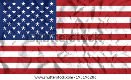 United States flag on wrinkled paper vector illustration.