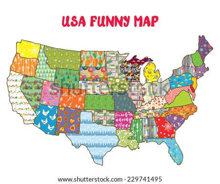 United States Funny Map Patterns Vector Stock Vector 229741495