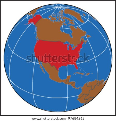United States Locate Map - stock vector