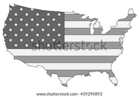 United States Map Black White Color Stock Vector - Color in us map