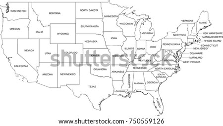United States Map Coloring Book Outlines Labels In Separate Layer