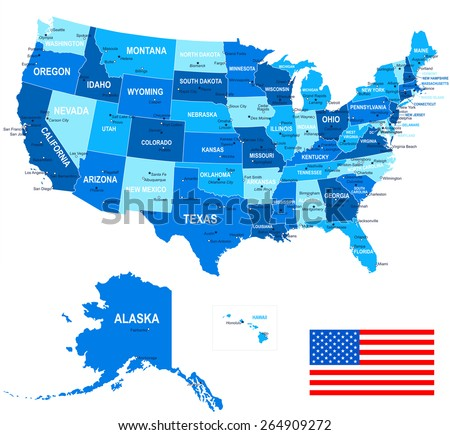United States - map, flag and navigation icons - illustration - stock vector