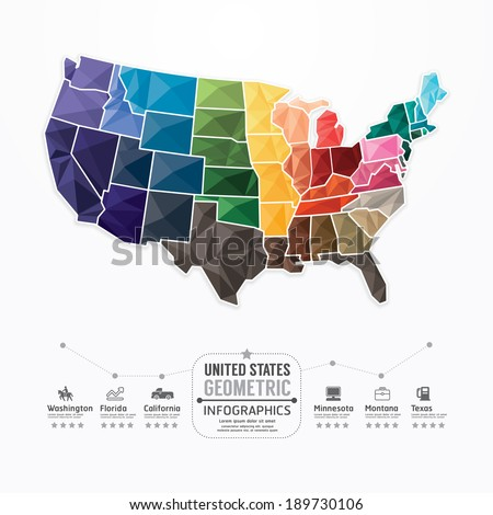 United states Map Infographic Template geometric concept banner. vector illustration - stock vector
