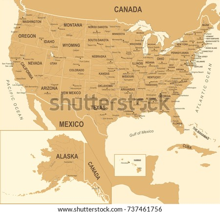 United States Map Vintage Detailed Vector Ilration