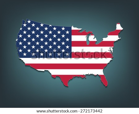 United States map with Flag style - stock vector