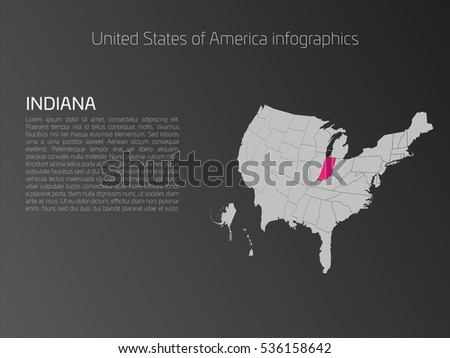 United States Of America Aka Usa Or Us Map Infographics Template 3d Perspective