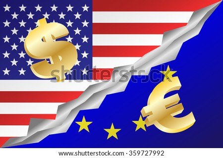 United States of America and European Union mixed flag with dollar and euro symbols. Vector illustration EPS 10. - stock vector