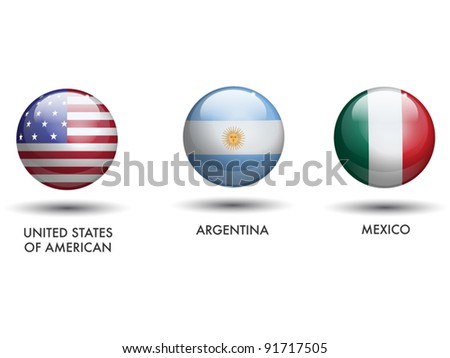 United States of America Argentina Mexico Flags - stock vector
