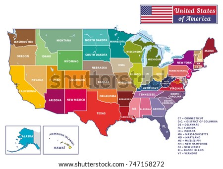 Colorful Usa Map States Capital Cities Stock Vector - Us map including alaska