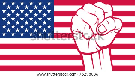 United States of America fist (Flag of United States of America) - stock vector