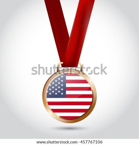 United States of America Flag in Bronze Medal. Vector Illustration - stock vector