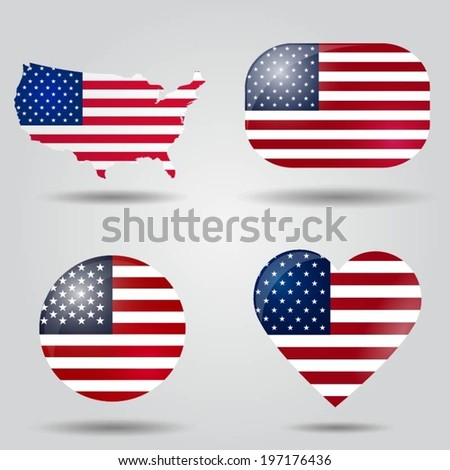 United States of America flag set in map, oval, circular and heart shape. - stock vector
