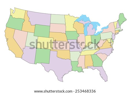 United States of America - Highly detailed editable political map. - stock vector