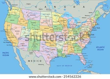 Us Map Stock Images RoyaltyFree Images Vectors Shutterstock - Atlantic ocean on us map