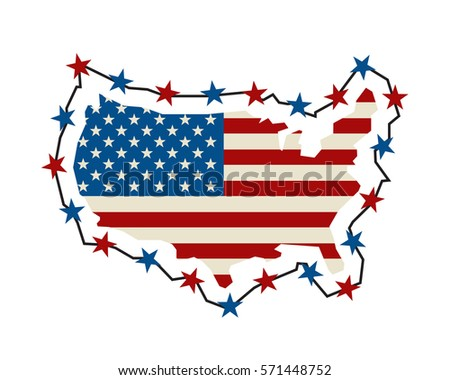 Us Map Barbed Wire America Closes Stock Vector - Clipart us map border security