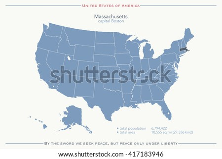 United States of America isolated map and Massachusetts State territory. vector USA political map. geographic banner template - stock vector
