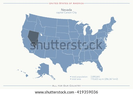 United States of America isolated map and Nevada State territory. vector USA political map. geographic banner template - stock vector