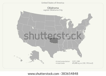 United States America Isolated Map Oklahoma Stock Vector - Us map oklahoma