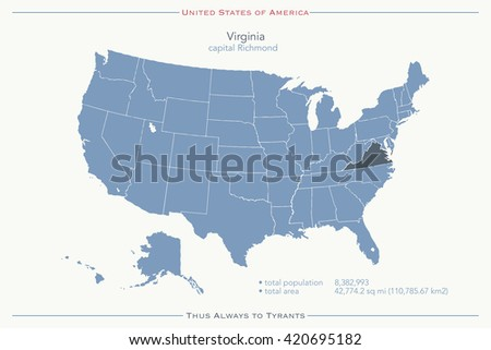 United States of America isolated map and Virginia State territory. vector USA political map. geographic banner template - stock vector