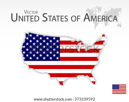 United States of America ( map and flag ) - stock vector