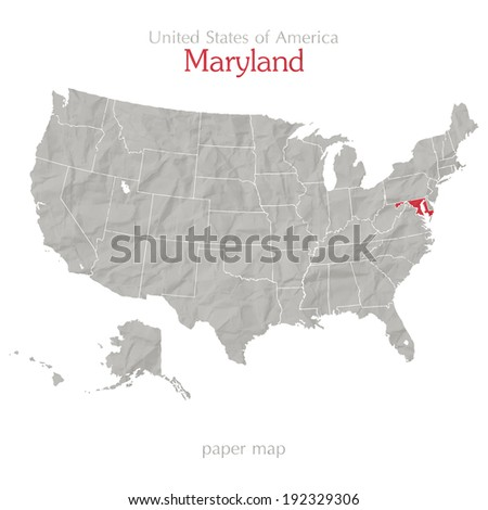 United States of America map and Maryland state territory on shabby paper texture - stock vector