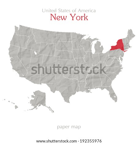 United States of America map and New York state territory on textured paper - stock vector