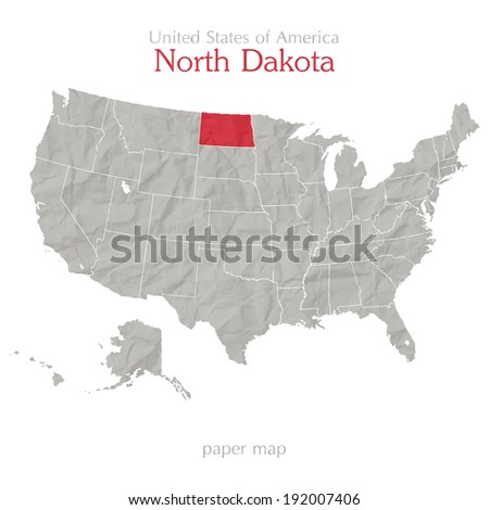 United States of America map and North Dakota territory isolated on white background - stock vector