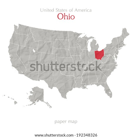 United States of America map and Ohio state territory on textured paper - stock vector
