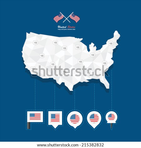 United States of America Map And Pins - stock vector