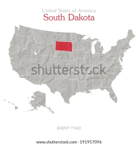 United States of America map and South Dakota territory on paper background - stock vector